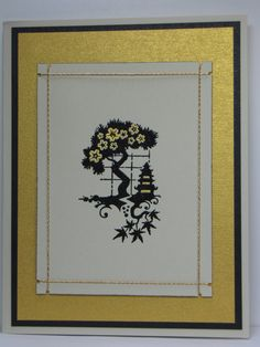 handmade card from Jan's Joy ... brushed gold base ... black bonzai image with gold embossed cherry blossoms ... luv it!