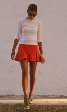 Orange skirt, cream sweater, wedges