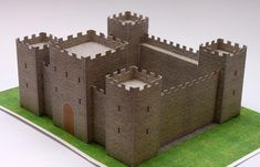 Saint Jordi Medieval Castle Paper Model - by Eme Arq Studio - == -  Created by Spanish designers Marta González y Míriam Bello, from Eme Arq Studio website, this beautiful Medieval Castle occupies six sheets of paper and is perfect for Dioramas, School Works, RPG and Wargames. I think the scale is something about HO (1/87 scale), but I am not shure.