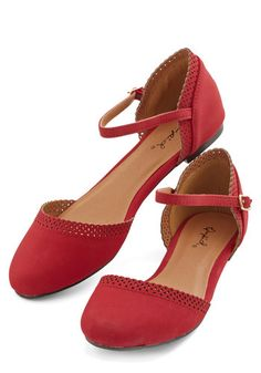 Cute Across Campus Flat in Red. Whether you're headed to the quad or the classroom, you're flaunting these fab red flats! #red #modcloth