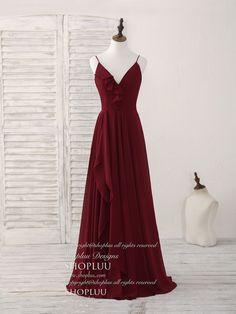 Simple burgundy v neck chiffon long prom dress, bridesmaid dress