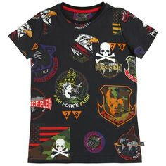 Philipp Plein Junior Kids-boys Printed Patches Cotton Jersey T-shirt ($150) ❤ liked on Polyvore featuring black