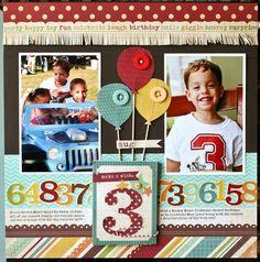 2 photo 1 page birthday scrapbook layout Baby Boy Scrapbook, Birthday Scrapbook Layouts, Album Scrapbook, School Scrapbook, Scrapbook Sketches, Scrapbook Page Layouts, Scrapbook Designs, Scrapbook Paper Crafts, Scrapbook Supplies