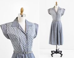 vintage 1940s dress / 40s dress / Chambray Embroidered Dress with Belt