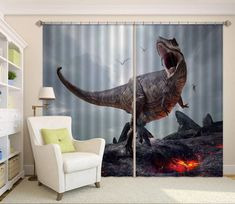 Dinosaur With Volcano Blockout Photo Curtain Print Curtains Drapes Fabric Window 3d Curtains, Printed Curtains, Photo Wall Stickers, Koi Fish Pond, Pink And White Flowers, Beach Landscape, Graffiti Wall, Draped Fabric, Custom Wallpaper