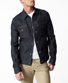 Levi Commuter Trucker Jacket, and Slim Fit Khaki Jeans, Men's Spring Summer Fashion. Dark Denim Jacket, Levis Jacket, Denim Coat, Black Denim, Cool Jackets, Jean Jackets, Sharp Dressed Man, Looks Cool, Outerwear Jackets
