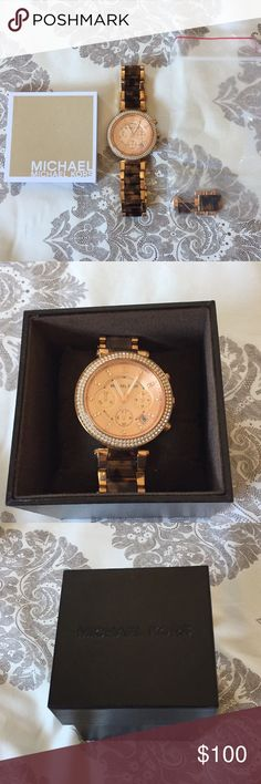 Michael Kors watch. Tortoise shell with rose gold. Very nice Michael Kors watch. Rose gold face with rose gold trim and tortoise shell links. No signs of wear. Comes with all original packaging including extra links and booklet. Needs a new battery. Make me an offer! Michael Kors Accessories Watches
