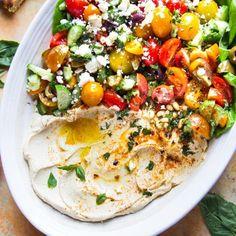 room Cucumber Feta Salad, Hummus Salad, Shrimp Stew, Seafood Stew, Hummus Platter, Lamb Loin Chops, Cauliflower Hummus, Homemade Hummus, Summer Dishes