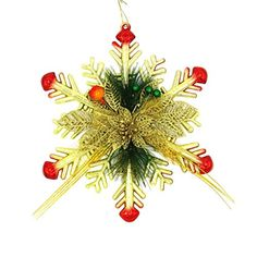 Christmas Tree Snowflake Hanging Ornaments Iusun Xmas Party Home Decoration Gold *** Check out the image by visiting the link.