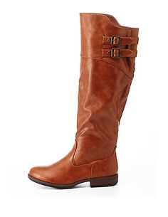 Bamboo Belted Riding Boots #CharlotteRusse #boots #shoes