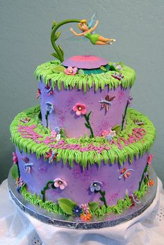 Tinkerbell Birthday cake by Graceful Cake Creations, via Flickr- the purple and green is so pretty, but especially love the dragonflies!