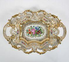 F A Schumann German Porcelain Dish Dresden Flower