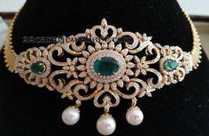 Jewellery Designs: 2 in 1 Diamond Chokers by Kotharis Jewelry Indian Jewellery Design, Latest Jewellery, Jewelry Design, Diamond Choker Necklace, Diamond Pendant, Diamond Jewellery, Gold Pendant, Bridal Necklace, Diamond Bracelets