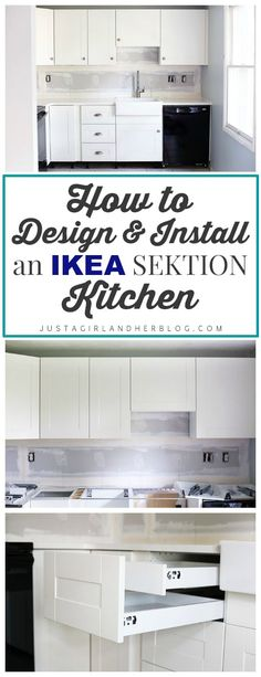 How to Design and Install IKEA SEKTION Kitchen Cabinets This post gives a really detailed walk through of all of the steps involved in designing, planning, and installing an IKEA SEKTION kitchen. Must read before we do our kitchen reno! Ikea Kitchen Cabinets, Kitchen Redo, Kitchen Ideas, Ikea Kitchen Diy, Kitchen Sinks, Ikea Kitchen Remodel, Soapstone Kitchen, Kitchen Countertops, Ikea Kitchen Planning