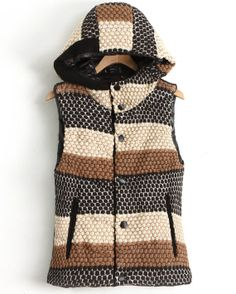 Black Yellow Hooded Sleeveless Geo Pattern Vest US$35.74