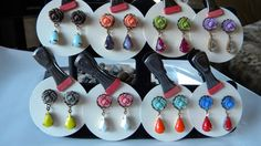 Ruffled Rose and Teardrop Dangle Post Earrings Choose Your Summer Colors Color Block Earrings