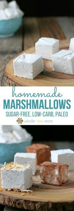Homemade Marshmallows – with sugar-free option Homemade Marshmallows? Fun to make, these marshmallows are sugar-free, paleo, and autoimmune protocol/AIP compliant. No dyes or artificial flavors. Sugar Free Desserts, Sugar Free Recipes, Low Carb Desserts, Candy Recipes, Sugar Free Lollies, Sugar Free Meals, No Sugar Snacks, Snacks Recipes, Homemade Desserts