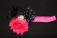 Shabby Chic Infant Headband (Black/White/Pink or Hot Pink or Green) by CadisClosetInc on Etsy