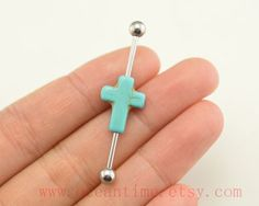 cross industrial barbell piercing,turquoise industrial barbell earring jewelry, cross ear jewelry,oceantime on Etsy, $6.79
