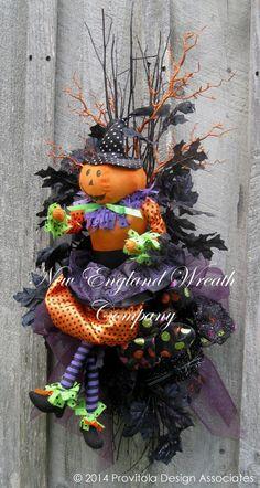 """Little Pumpkin Girl"" Halloween Swag by NewEnglandWreath Deco Wreaths, Holiday Wreaths, Burlap Wreaths, Halloween Mesh Wreaths, Halloween Decorations, Fall Swags, Mesh Bows, Pumpkin Wreath, Halloween Cat"