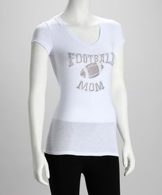 Take a look at this White 'Football Mom' V-Neck Tee - Women & Plus by Ready Set Sparkle Couture on #zulily today!