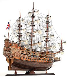 This high quality, highly detailed, expert level, HMS Sovereign of the Seas tall ship model is fully assembled and ready for display (not a kit).This HMS Sovereign of the Seas model sailboat was custo Model Sailing Ships, Old Sailing Ships, Model Ships, Sailing Boat, Model Ship Building, Boat Building, Building Plans, Bateau Pirate, Ship Of The Line
