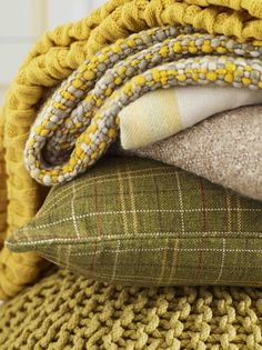 Chartruse and olive textiles Vert Olive, Olive Green, Autumn Interior, Colour Board, Shades Of Yellow, Mellow Yellow, Color Themes, Soft Furnishings, Color Inspiration