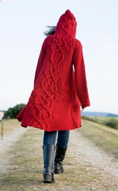 Beautiful cardigan. ========== I want this, so I can be little red - er - all grown up into big old granny red ;)