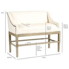 Marcello Counter Bench with Pewter Nails   Ballard Designs
