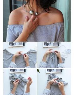Off-The-Shoulder Top 41 Insanely Easy Ways To Transform Your Shirts For SummerDIY Tshirt Refashion Clothes Casual Outift for teens girls women . summer fall spring winter outfit ideas dates school partiesThe weird tan lines will totalOpen up to see a Diy Clothes Tutorial, Diy Clothes Refashion, Shirt Refashion, T Shirt Diy, Diy Tshirt Ideas, Refashioned Clothes, Diy Summer Clothes, Summer Diy, Summer Fall