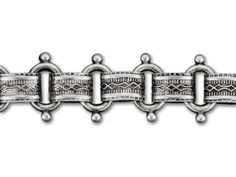 12mm Antique Silver-Plated Brass Beaded Vintage Reproduction Chain