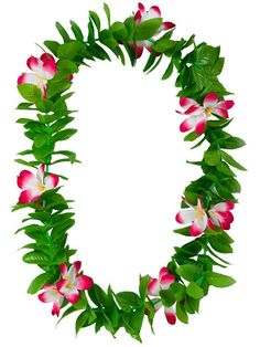 Green Leaf Pink Flowers Hawaiian Garland Lei Tropical Party Fancy Dress Necklace