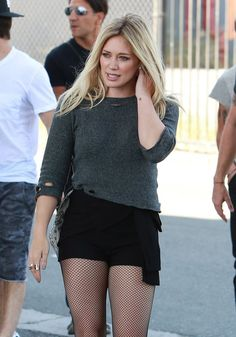 Hilary Duff ♥ rocking the fish nets. For more style inspiration, watch Hilary Duff in season 1 of Younger on TV Land at http://www.hulu.com/younger.