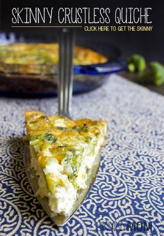 My Skinny Crustless Quiche is one of my favorite go-to breakfast-dinners. - Super healthy - tasty warm or cold and great for any meal! We love quiche! Quiches, Low Carb Recipes, Vegan Recipes, Cooking Recipes, Breakfast For Dinner, Breakfast Recipes, Organic Recipes, Love Food, Yummy Food
