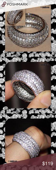 Argent Sterling .925 1 Ct Diamant Trois Row Bracelet J-K-I3