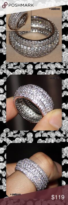JUST IN🆕 Stunning 2ct Mega Bling 925 Silver Ring New Stunning Mega Bling White Topaz AAAA CZ 925 Silver Wedding Band Material: 925 Silver (Stamped S925) Size: 6 (MORE SIZES COMING ASK HOW TO RESERVE YOUR SIZE ASAP) Stone Size: 1.2mm*1.2mm Stone: White Topaz and AAAA Cubic Zirconia Stone Weight: 2cts One of the most beautiful bands I've ever seen.... Glam Squad 2 You Jewelry Rings