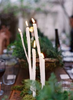 Candles - DIY Moss Pot - A Delicate Tuscan Inspired Wedding II captured by Tec Petaja - via oncewed