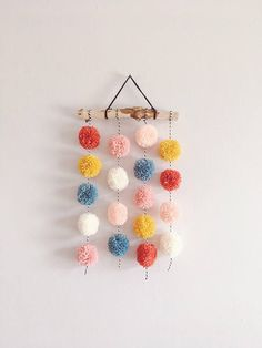 Pom Pom Hanging, Small Driftwood Garland, Nursery Decor, CUSTOM - You are in the right place about crafts for boys Here we offer you the most beautiful pictures abo - Pom Pom Crafts, Yarn Crafts, Diy And Crafts, Crafts For Kids, Arts And Crafts, Preschool Crafts, Pom Pom Diy, Nursery Decor, Wall Decor