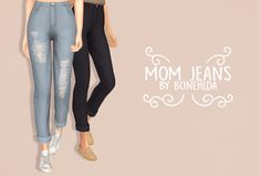 "bonehlda: "" mom jeans ""i'm excited to share with you my latest lil project! i've wanted mom jeans that satisfy my standards in my game for ages and these seem to tick all the boxes (at least for me)! they're a mesh edit, so the legs are more of a..."