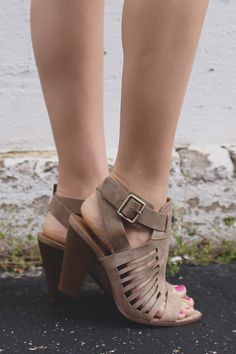 vegan leather caged design heels with separate toe strap, criss cross ankle strap and stacked wooden heel with cushioned insole