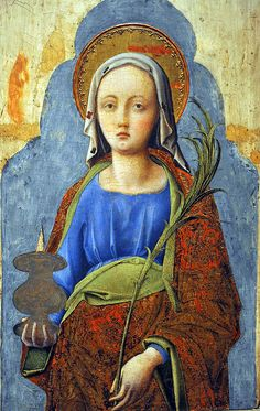 Saint Lucy....Antonio Vivarini (ca. 1415-1476/84) with Bartolomeo Vivarini (1450-after 1491) Italy.