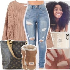 A fashion look from November 2016 featuring Ryan Roche sweaters, UGG Australia ankle booties and Louis Vuitton shoulder bags. Browse and shop related looks.