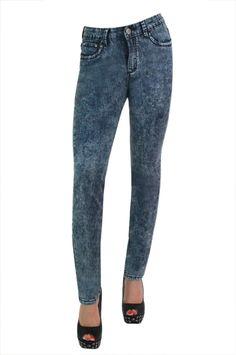 Ladies Fancy Sexy Slim Fit Jeans Womens Faded Denim Trousers Pants Size 8-16