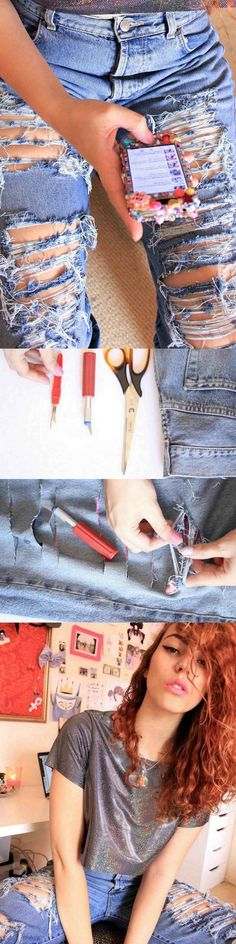 Pin by teri on diy clothing diy ripped jeans, diy clothes, shredded jeans. Outfits For Teens, Cute Outfits, Umgestaltete Shirts, Diy Ripped Jeans, Shredded Jeans, Chantal, Diy Clothes Refashion, Diy Kleidung, Diy Vetement