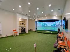 #Golf is a super classy and fun #sport that is widely practiced #indoors as well as #outdoors Outdoor Swimming Pool, Swimming Pools, Pool Spa, Indoor Golf Simulator, Golf Room, Soccer Room, Pool Shapes, Golf Simulators, Home Theater Design