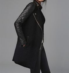 Loving the zipper on this leather sleeved coat!