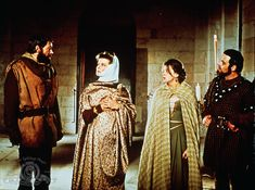 """Peter O'Toole, Katharine Hepburn, Jane Merrow and Anthony Hopkins in """"The Lion in Winter"""", movie, (1968)."""