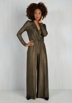 Shimmer Shimmer, Smitten Dinner Jumpsuit. A date unlike any other calls for a garment unlike any other, and this luxe jumpsuit is the winner! #bronze #modcloth
