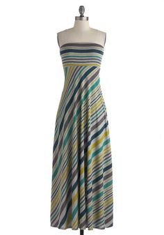 Clambake Character Dress - Long, Grey, Green, Blue, Grey, Stripes, Casual, Maxi, Strapless