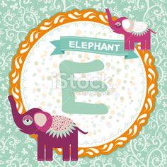 ABC animals E is elephant. Childrens english alphabet. Vector Royalty Free Stock Vector Art Illustration